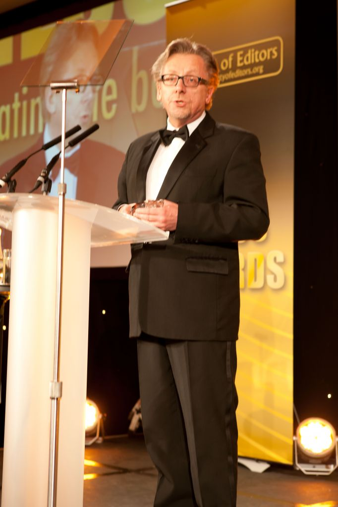 David James Smith accepts his award for Feature Writer of the Year at the British Press, 2012
